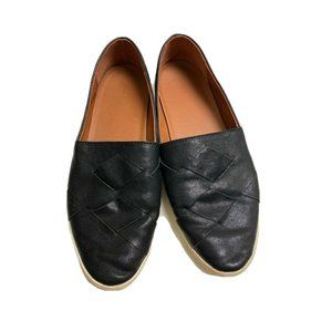 Frye Black Woven Leather Slip Ons Size 8.5 M